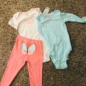 NWT carters long sleeve onsie & pant set, buttefly